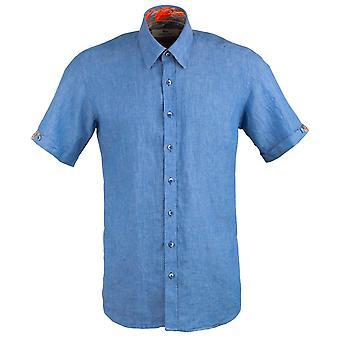 Claudio Lugli Oxford Linen Short Sleeve Mens Shirt