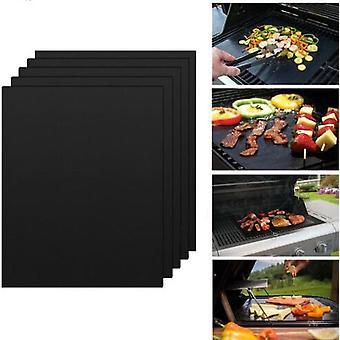 4 Grill matjes voor de BBQ - Grill matten - Op maat knippen - Oven matten - Oven beschermer - Anti Aanbak - Gemakkelijk te reinigen - Vis op de BBQ - Oven beschermer - Teflon Grillmat - Herbruikbaar - Afmeting 40x33 cm Zwart