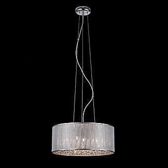 Italux Quarz II - moderne hängende Anhänger Chrom 6 Licht mit Silber Schatten, G9