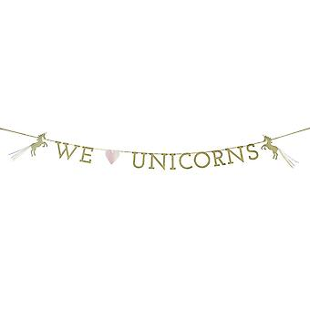 We Heart Unicorns Garland Bunting x 3m - Unicorn Birthday Party Decoration