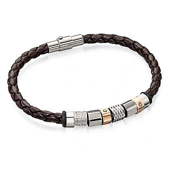 Fred Bennett Stainless Steel & Rose Gold Ip Bead W/ Brown Leather Bracelet