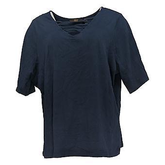 G.I.L.I. consiguió que le encanta Mujeres's Plus Top Cut-Out V-Neck Knit Blue A375516