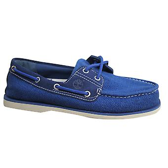 Timberland Classic Fabric Leather Mens Boat Shoes Casual Blue Lace Up A16O4 B81A