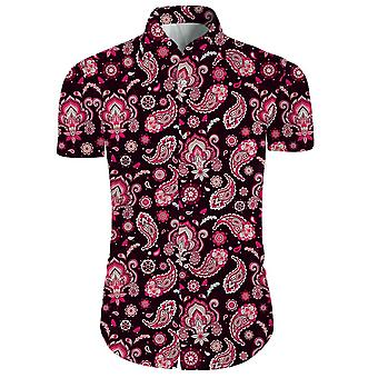 Mens 2 Pieces 3d Floral Print Casual Button Down Short Sleeve Hawaiian Shirt And Shorts Set In Brown