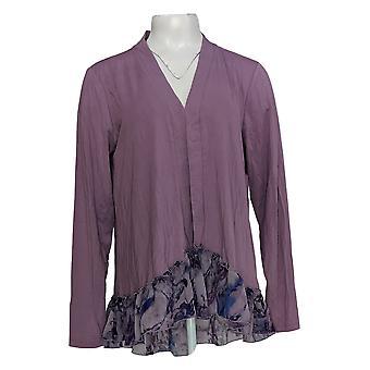 LOGO Par Lori Goldstein Women's Sweater Long Sleeve Cardigan Purple A347517