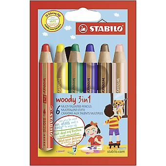 Multi-talented pencil stabilo woody 3-in-1 wallet of 6 assorted colours