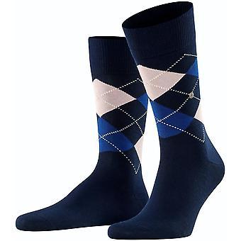 Burlington Manchester Socks - Navy/White/Blue