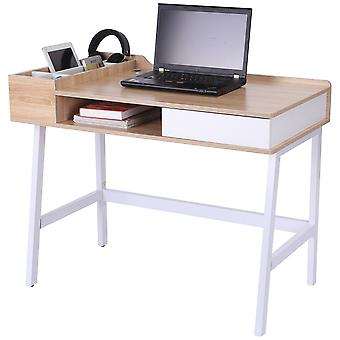 HOMCOM Computer Writing Desk Workstation with Drawer, Storage Compartments, Cable Management, Laptop Table Metal Frame Oak and White