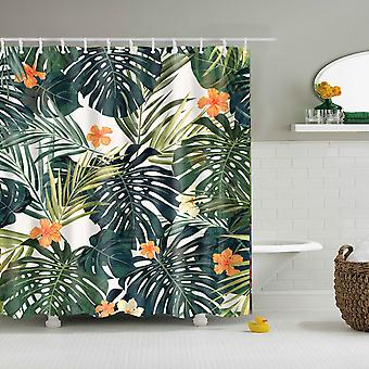 Tropical Green Plant Leaf Palm Cactus Shower Bathroom Curtain