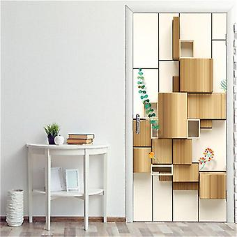 Shelves Door Mural Self-adhesive Waterproof Vinyl Wall Sticker