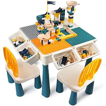 DZK Kids Activity Height Adjustable Table and 2 Chair Set ,include DZKPcs Large Size Blocks