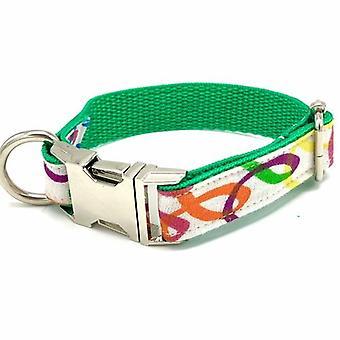 Rainbow Green Dog Collar Bow Tie Set