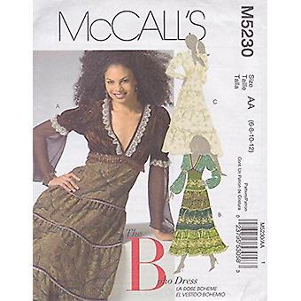 McCalls ompelu kuvio 5230 Misses Porrastettu mekot Koko 6-12 AA