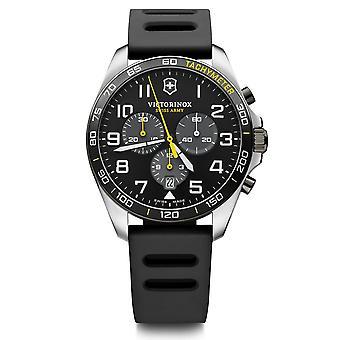 Relógio Masculino Victorinox FIELDFORCE Sport Chrono, discagem preta, pulseira de borracha preta - 42 mm