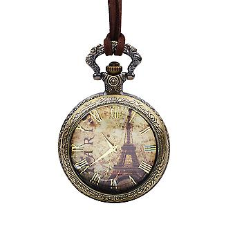 Pocket Watch Paris Tower Pattern Cover Necklace Watch