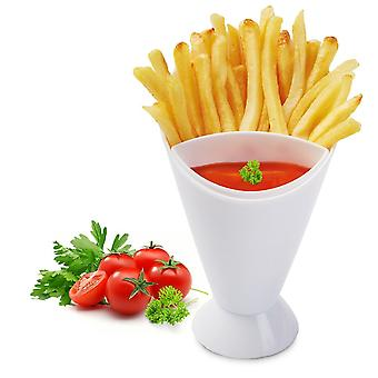 Kitchen Serving Tool Snack Cone Stand Dip Holder For Chips Finger Food Sauce White Fries Dip and Cone Cup Snack Holder Serving
