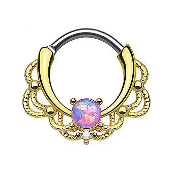 Septum piercing clicker - dentelle d'or unique opalite w / cz gemme - 16ga - vendu chaque