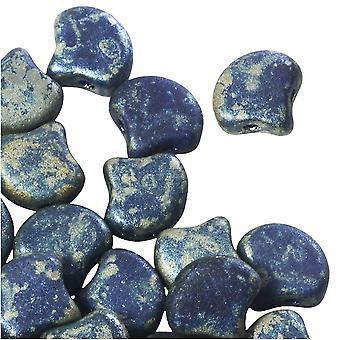 Czech Glass, 2-Hole Ginko Beads 7.5mm, 10 Grams, Matte Cobalt Rembrandt