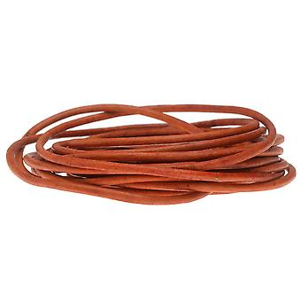Genuine Leather Cord, Round 2mm,  By the Yard, Natural Orange