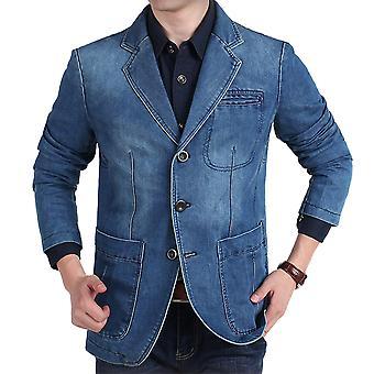 יאנגפאן גברים קלאסי צווארון חריץ ג'ינס בלייזר 3 כפתור חליפה ז'קט