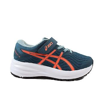 Asics Patriot 12 PS Magnetic Blue/Sunrise Red Mesh Childrens Running Trainers