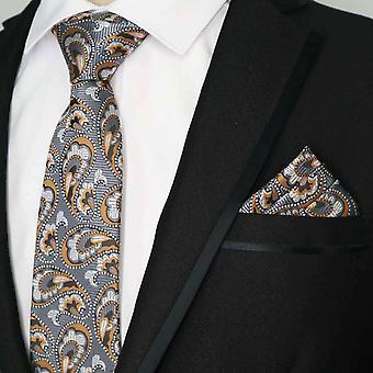 Gun metal grey & orange paisley tie & pocket square set