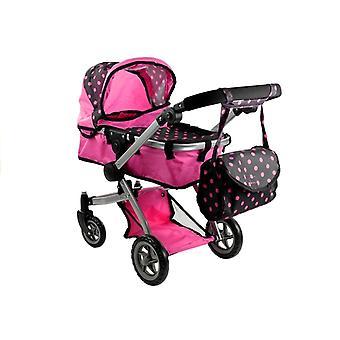 Kočík na bábiky s taškou - 64 x 38 x 68 cm - Ružová s čiernou