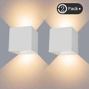 White 12w indoor / outdoor wall light ip65 waterproof led wall lamp adjustable up down lamp 3000k warm white(2pcs) dt6430