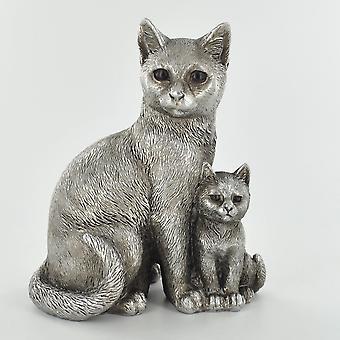 Gato de plata antiguo y gatito adorno de pie
