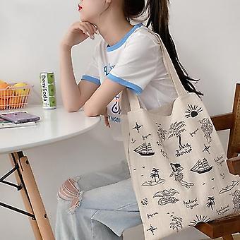 Lino de algodón mujeres lienzo bolsas de compras, eco friendly hombro- bolsa