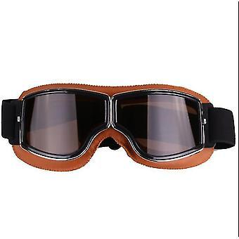 retro stil harley motorsykkel briller, utendørs vindtett ridning off-road briller (gul + grå)