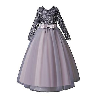 Lantejoulas Lace Girls Long Sleeve Party Dresse Silver 7-8Years Old