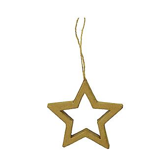 LAST FEW - Paper Mache Star Frame Hanging Christmas Ornament - 10cm | Papier Mache