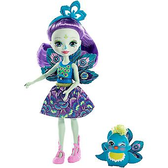 FXM74 Patter Peacock Doll (6 Inch), and Flap Animal Friend Figure, Multi-colour