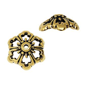 Bead Cap, Open Poppy Flower 11.5mm, 2 Pieces, Antiqued Gold Plated, By TierraCast