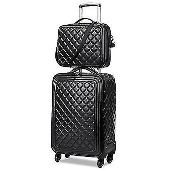 Leather Rolling Luggage Set Spinner High Grade Luxury Suitcase Wheels Travel
