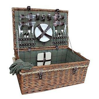 4 Person Deluxe Rope Handled Green Tweed Fitted Picnic Basket
