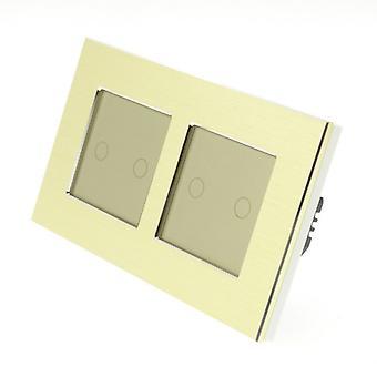 Я LumoS золото матовый алюминий, двойной кадр 4 банды 2 путь сенсорный светодиодный свет переключатель золота Вставка