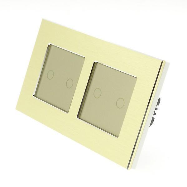 I LumoS Gold Brushed Aluminium Double Frame 4 Gang 1 Way Remote Touch LED Light Switch Gold Insert