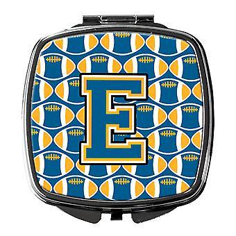 Carolines Treasures  CJ1077-ESCM Letter E Football Blue and Gold Compact Mirror