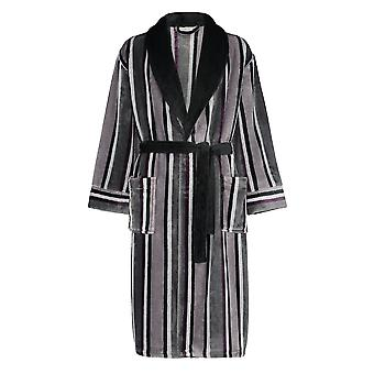 Slenderella WR8840 Men's Grey Striped Long Sleeve Robe