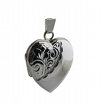 Silver 21x19mm hand engraved heart shaped Locket