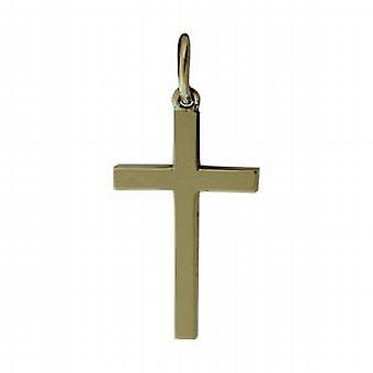 9ct gull 20x12mm vanlig solid blokk Cross