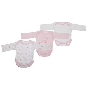 Baby Girls Teddy Bear Pattern Long Sleeve Bodysuits (Pack Of 3)