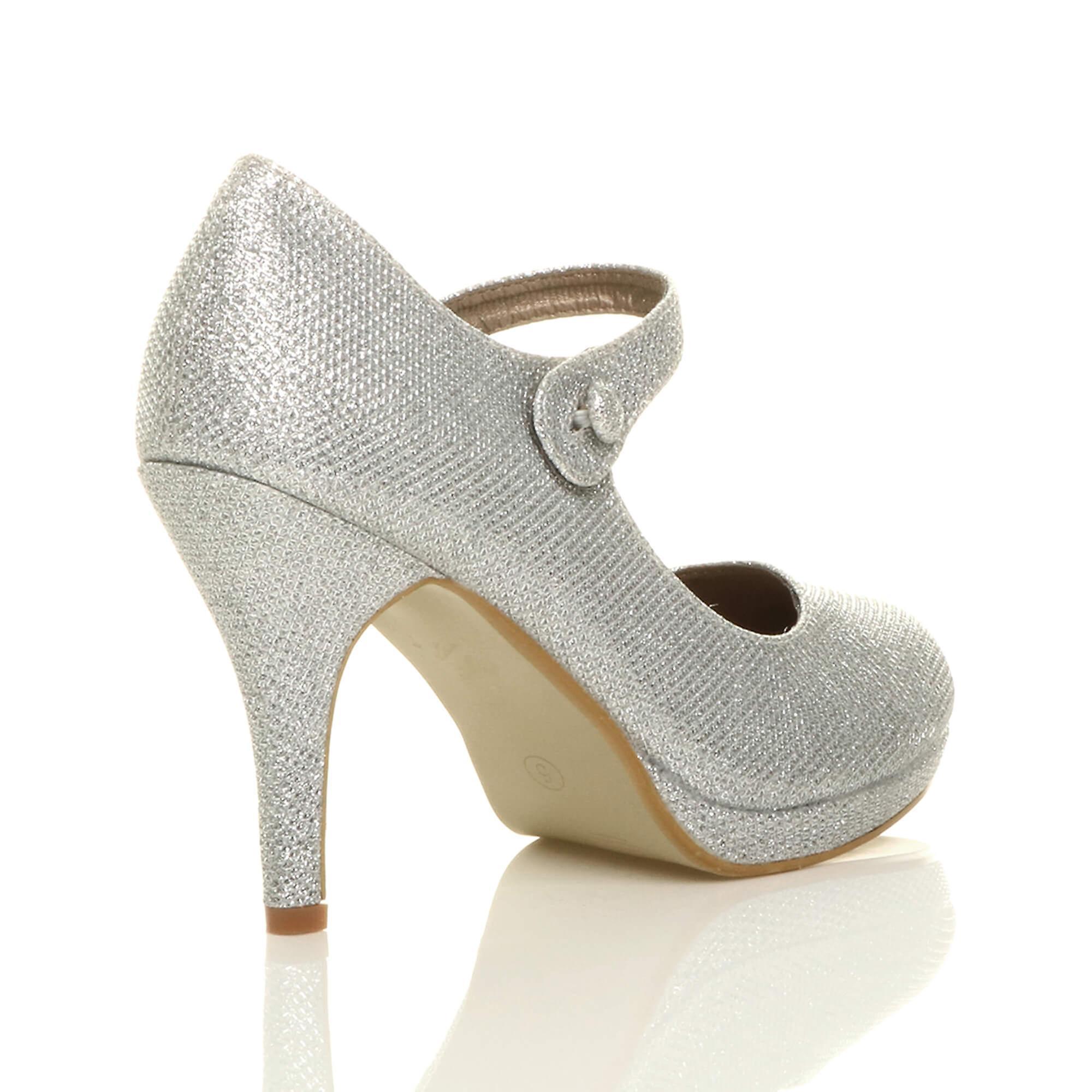 Ajvani womens mid high heel mary jane evening work platform court shoes