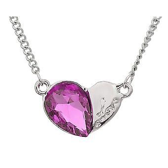 Womens Love Heart Silver and Light Pink Pendant Necklace