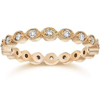1/3ct Stackable Lab Cresciuto Diamante Matrimonio Eternity Anello 14K Rosa Oro