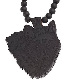 Wood style Bead Necklace - WOLF black