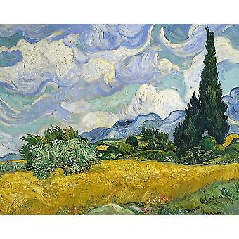 Wheat Field With Cypresses Poster Print by Vincent Van Gogh
