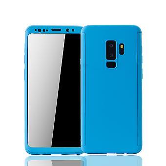 Samsung Galaxy S9 Plus Handyhülle Schutzcase Full Cover 360 Displayschutz Folie Hellblau